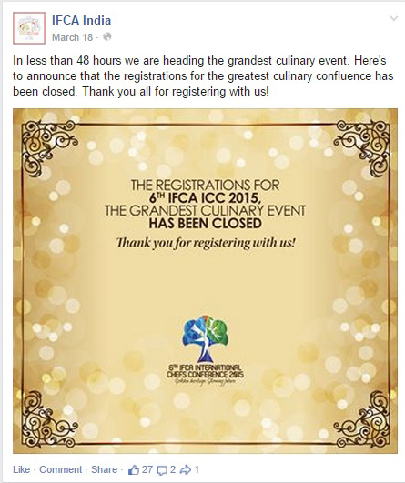 Post event post for IFCA's Facebook page